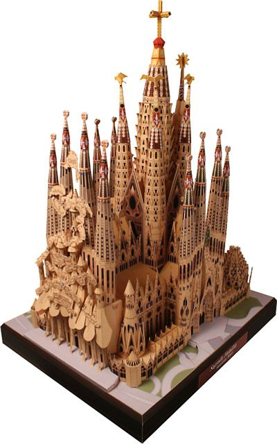 Paper model of La Sagrada Familia cathedral, Barcelona, Spain, by paper artist T. Ichiyama