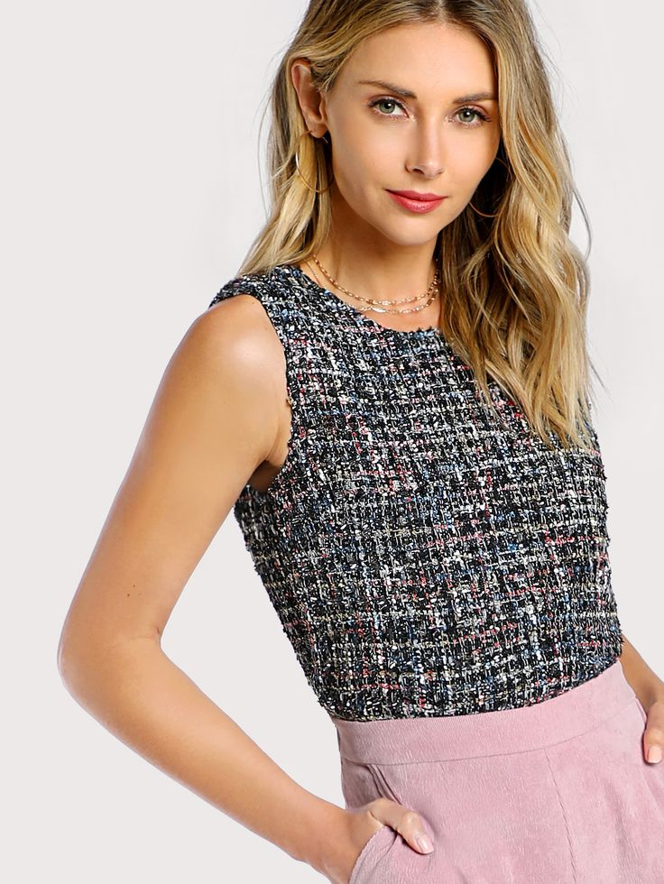 Shop Button Keyhole Back Tweed Shell Top online. SheIn offers Button Keyhole Back Tweed Shell Top & more to fit your fashionable needs.