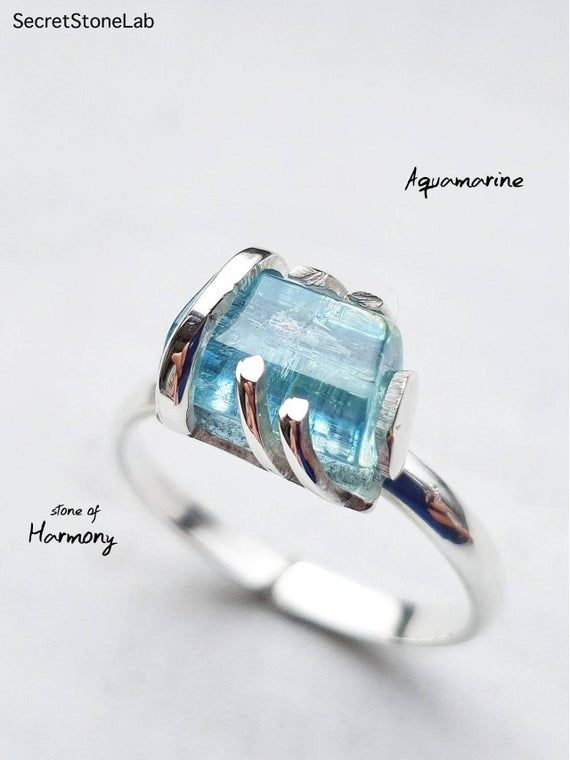 Aquamarine Ring Blue Solid Silver 925 Aquamarine Ring Engagement Ring Promise Rough Aquamarine Uncut Aquamarine Anniversary March Birthstone