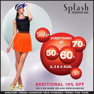 Splash #Sale Upto 70% off! Hurry, grab your favoutite #styles at lowest prices!