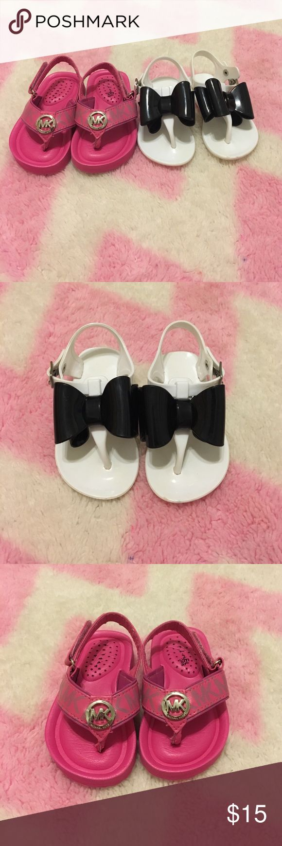MiK Sandals and White with Black Bow Flip Flops Pink MK Flip Flop Sandals and White with Black Bow Flip Flip Sandals.  White Sandals are NOT Michael Kors MICHAEL Michael Kors Shoes Sandals & Flip Flops