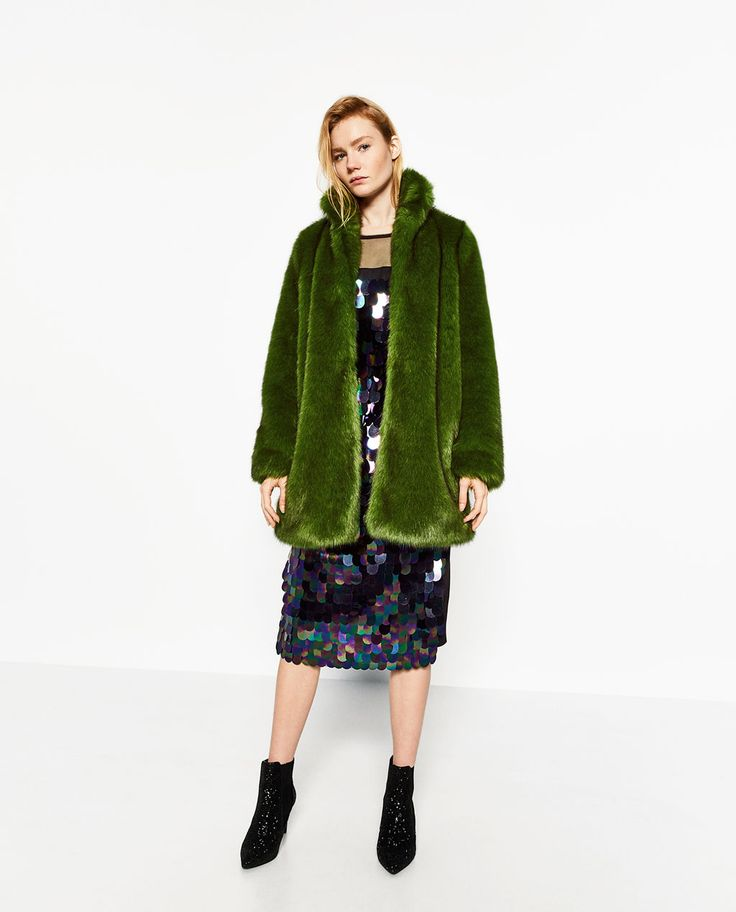 GREEN FAUX FUR COAT-View all-OUTERWEAR-WOMAN | ZARA United States