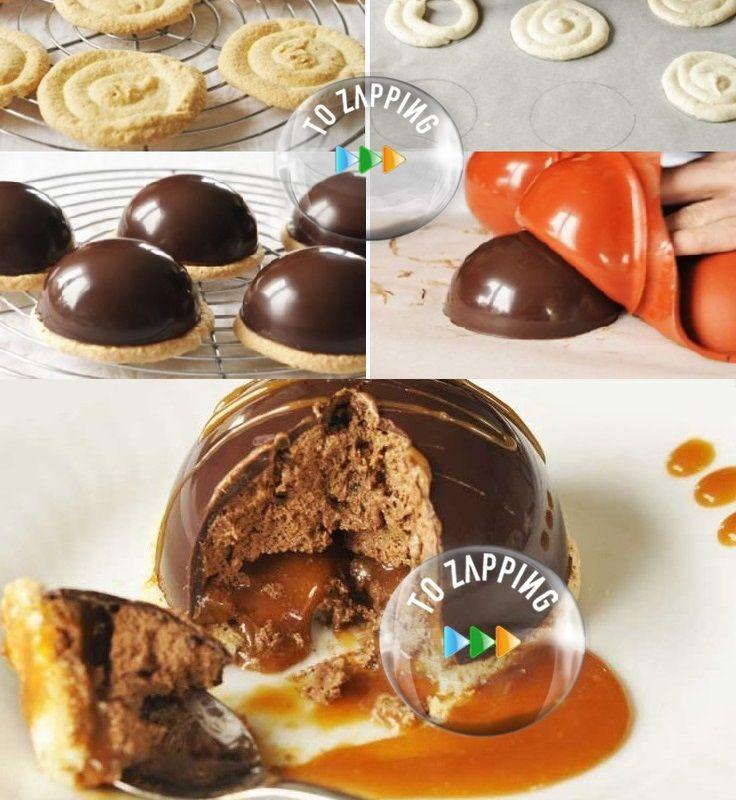 Cúpulas De Chocolate Y Caramelo. Deliciosas cúpulas de chocolate y caramelo sin gluten, una receta de chocolate llena de mousse de chocolate con caramelo de