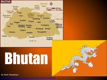 This is a basic PowerPoint presentation about the country of Bhutan (location, population, geography, landmarks, language, currency, economy, sports and games, holidays, food, clothing, animals, fun facts, etc.).This download includes a zipped folder containing both the PDF file and the PPT file for this product.Check out my store for more wonderful presentations about other countries!