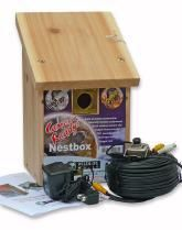 Nest Box With Colour Camera Kit 26x16.5x17cm  An attractive, robust starter camera nestbox suitable for a variety of species including, Tits, Sparrows etc. Made from 200mm thick FSC cedar, or similar, naturally durable timber.