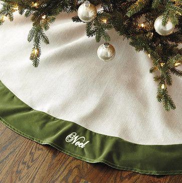 Suzanne Kasler Linen Tree Skirt with Velvet Trim - traditional - Christmas Tree Skirts - Ballard Designs