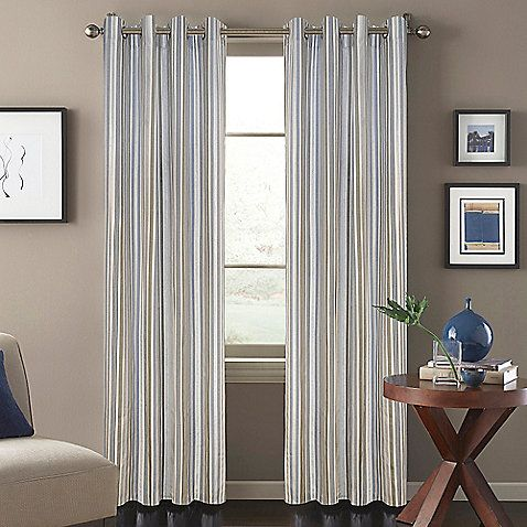 the attractive regatta stripe window curtain panel features a special metallic ink and classic