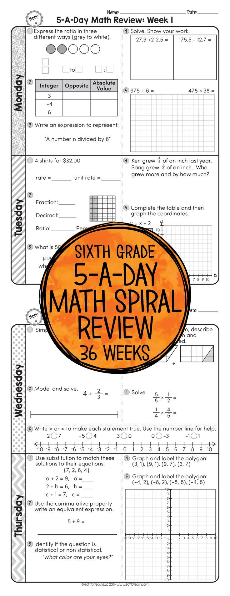 6th Grade Daily Math Spiral Review Morning Work EDITABLE