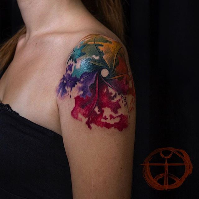 coolTop Watercolor tattoo - #abstract #windmill #watercolor #tattoo #watercolortattoo #koraykaragözler #kor...