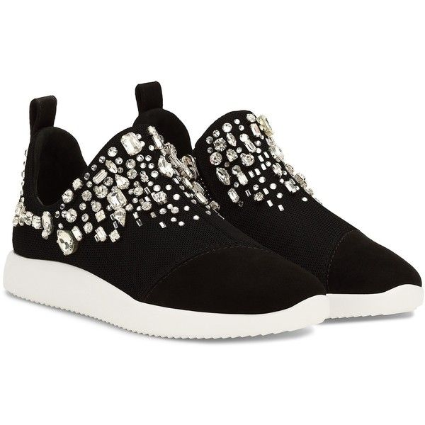 GIUSEPPE ZANOTTI Black Singleg Slip-On Sneakers ($1,295) ❤ liked on Polyvore featuring shoes, sneakers, pull on shoes, slip on trainers, black sneakers, giuseppe zanotti sneakers and black shoes