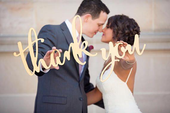 Thank You Sign Calligraphy Wedding Photo Props for DIY Wedding Thank you Card Wooden Sign for Bride & Groom Photo Decor (Item - TYC200)