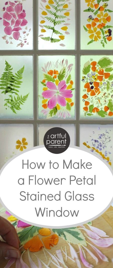 This spring flower craft combines the petals from colorful spring flowers with transparent contact paper to create a beautiful stained glass window.