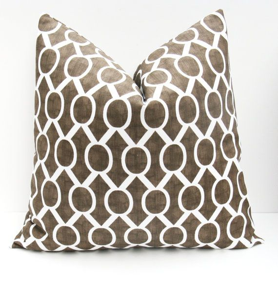 Euro Pillow Covers Chocolate Brown Pillow.Decorative Pillow Covers.Euro Pillow Sham ONE 26x26 Floor Cushions Floor Pillow Print both sides - $28
