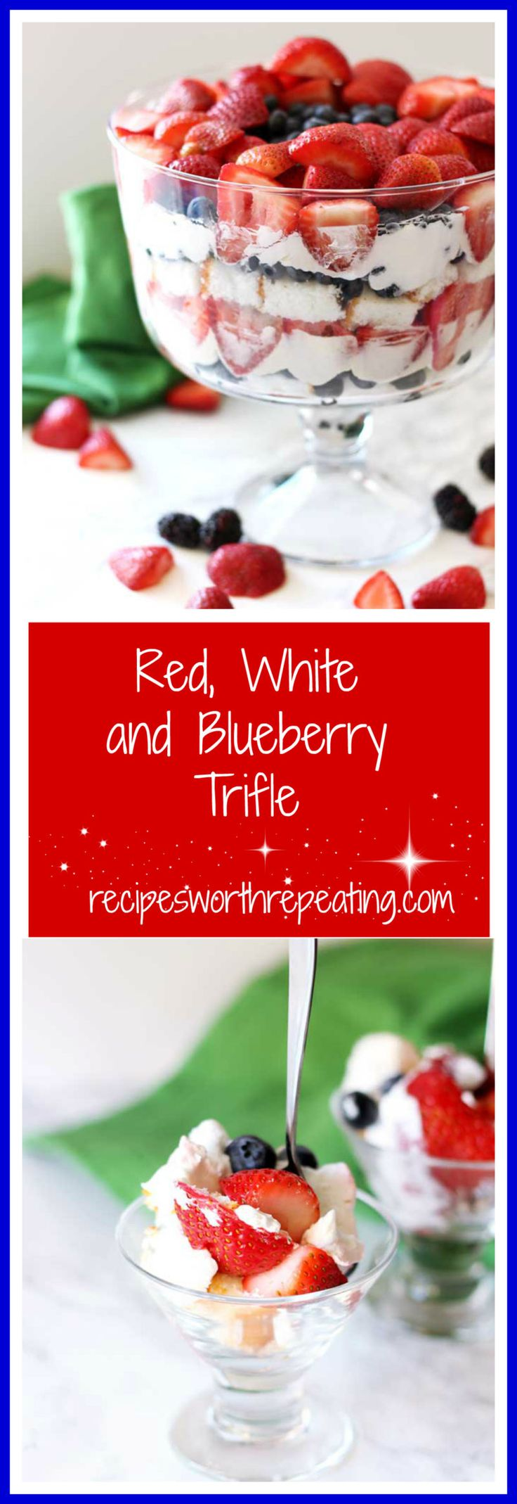 This Red, White and Blueberry Trifle is the most wonderful summer desserts! It's light in taste, simple to make and gorgeous! Get patriotic with this blueberries, strawberries and cheesecake whipped trifle treat!