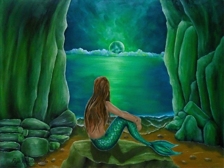 mermaid,painting,sitting,fantasy,scene,seascape,cave,coastal,on rock,aquatic,creature,life,tail,fin,mythical,mythological,magical,nude,feminine,romantic,nostalgic,fish,nightscape,moonlight,atmospheric,moody,vivid,light,green,beautiful,awesome,cool,unique,contemporary,realistic,figurative,fine,oil,wall,art,images,home,office,decor,artwork,modern,items,ideas,for sale,redbubble
