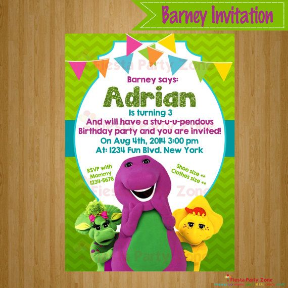 Barney Party invitation https://www.etsy.com/es/listing/193474936/barney-barney-invitation-barney-party