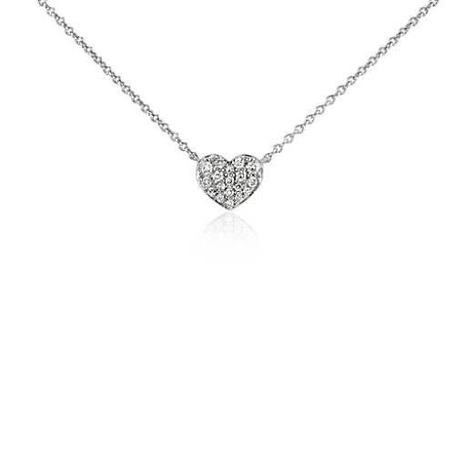 Mini Diamond Heart Necklace in 14k White Gold