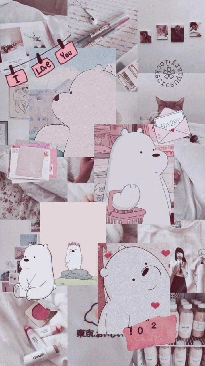 Pink Aesthetic Wallpapers Boneka Hewan Ilustrasi Karakter Kartu Lucu
