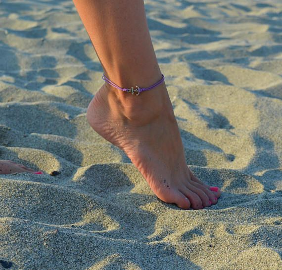 Anchor anklet, women's anklet with a silver anchor, purple cord, anklet for women, gift for her, women's ankle bracelet, nautical jewelry