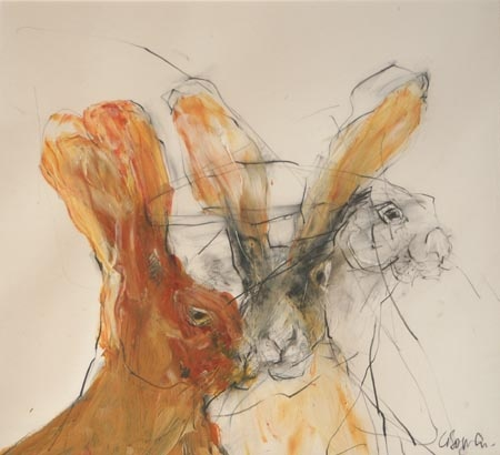Templenoe Hares   by Christine Bowen  acrylic and graphite on paper