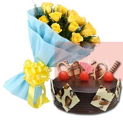 Send Online Yellow Roses Bunch of 25 flowers with half kg chocolate choco Truffle cake