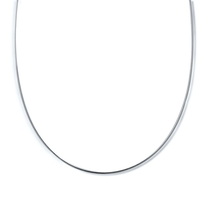 Italian Sterling Silver Round Omega Chain Necklace 1mm