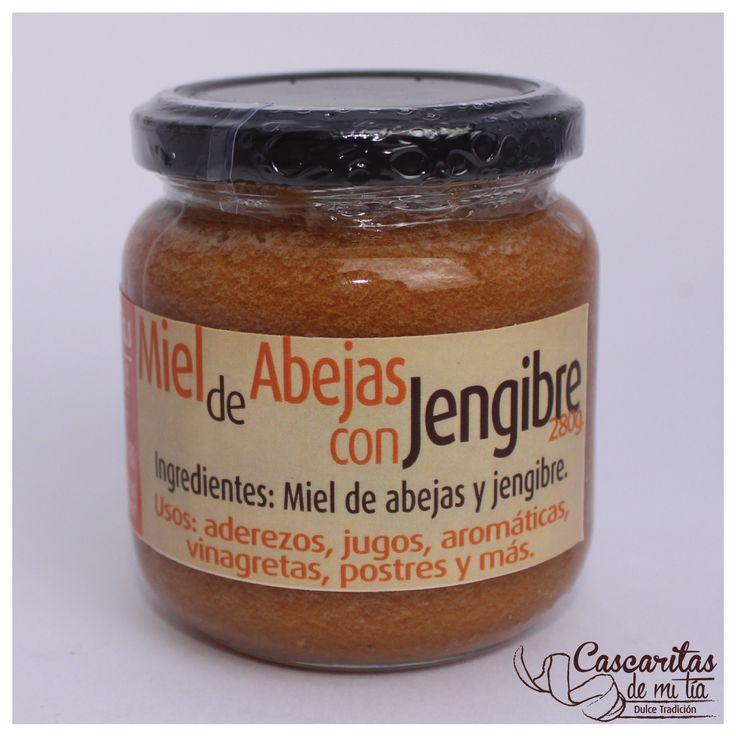 Miel de Abeja con Jengibre, Frasco de Vidrio x 260gr