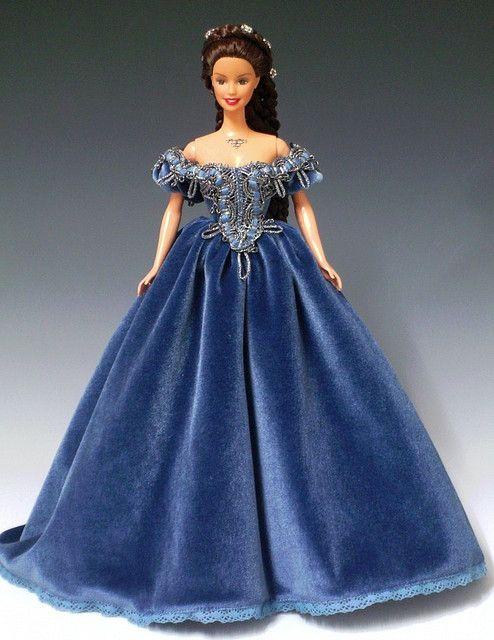 Sissi Barbie in blue velvet ballgown by Bavarian Dolls, via Flickr