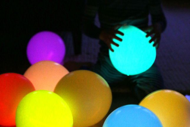 Use glow sticks to make glow-in-the-dark balloons.