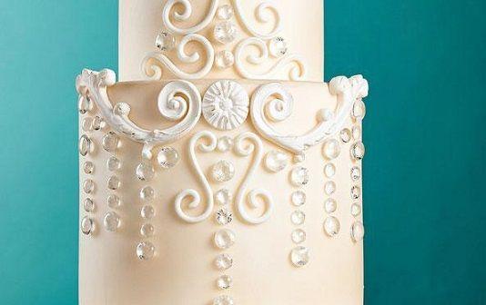 jewelled wedding cake tutorial Zoe Clark chandelier cake