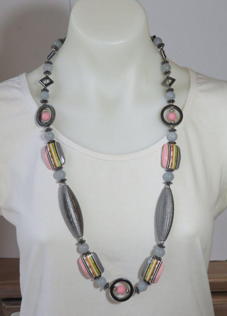 Necklace Handmade Pink Grey Hematite by FabulousFuss on Etsy