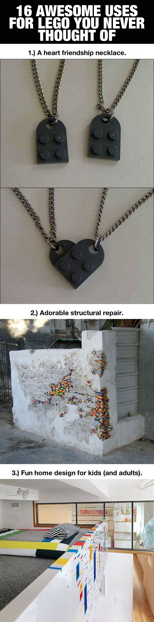 Awesome uses for LEGO you never thought of…Note the key ring/key holder idea