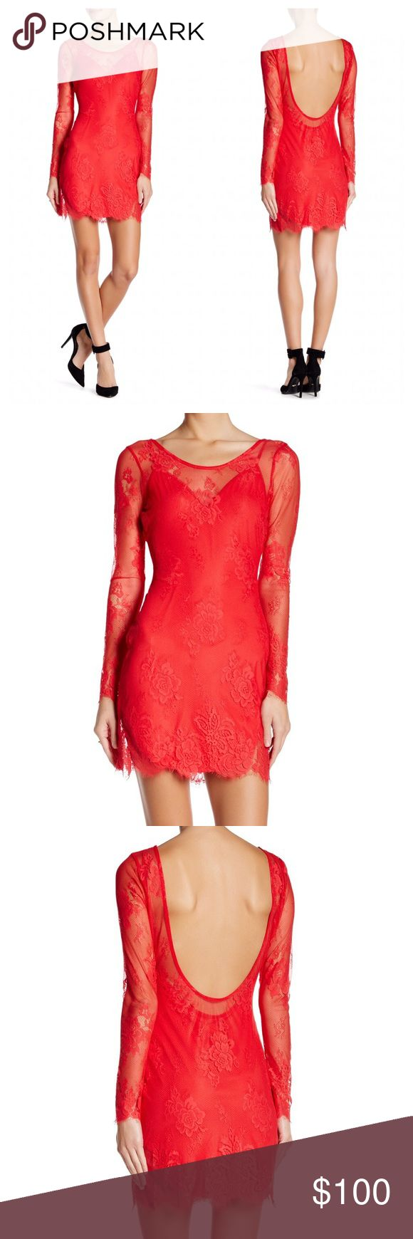 """NBD Dresses Lace Red Open Back Mini Dress L NWT New with tags. Size large. Red color. Similar to For Love & Lemons. Details - Crew neck  - Long sleeves  - Open back - Removable v-neck cami - Lace construction  - Embroidered knit detail  - Frayed hem - Approx. 32.5"""" length - Imported Fiber Content Shell: 55% nylon, 45% cotton  Lining: 95% polyester, 5% elastane Care Hand wash cold Additional Info Fit: this style fits true to size.  Model's stats for sizing: - Height: 5'10"""" - Bust: 32""""…"""