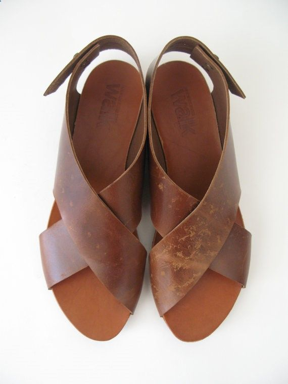 Sandals Summer HOLIDAY SALE 30% OFF Flat crossed brown by WalkByAnatDahari - There is nothing more comfortable and cool to wear on your feet during the heat season than some flat sandals.