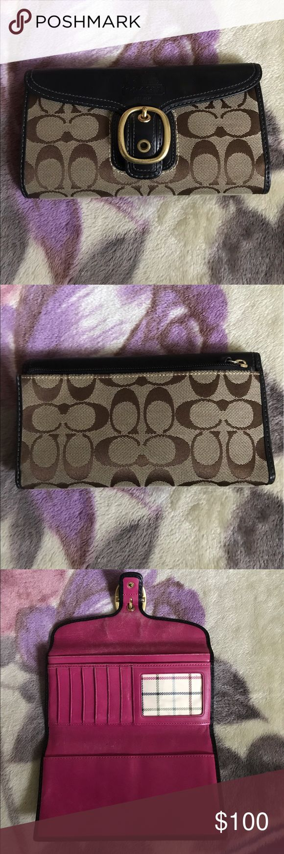 Authentic Coach Wallet Authentic Coach wallet with front buckle snaps , pink leather interior. Holds 7 credit cards/ IDs.,checkbook. Has zipper on side for coins. Bundle this wallet with matching authentic Coach shoulder bag. Coach Bags Wallets