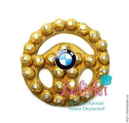 Подарки для мужчин, ручной работы. Ярмарка Мастеров - ручная работа. Купить Руль из конфет для мужчины или женщины  Подарок мужчине на 23 февраля. Handmade.