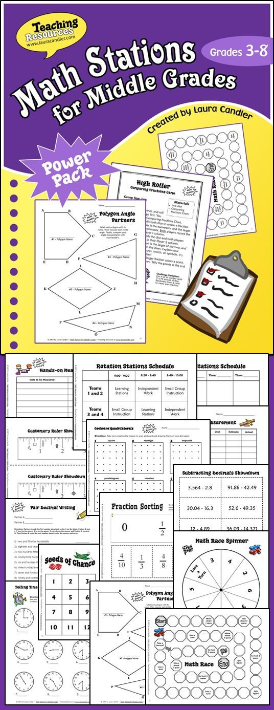 Math Stations for Middle Grades (Grades 3 through 8) eBook from Laura Candler - strategies and printables for implementing math stations and math centers $
