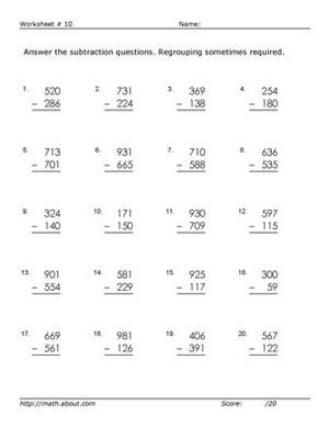Practice Three-Digit Subtraction With These Free Math Worksheets: Worksheet # 10