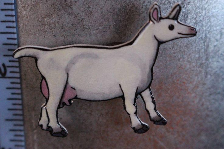 saanen female Goat Magnet for car locker and fridge goat lover gift by SaltoftheArt on Etsy