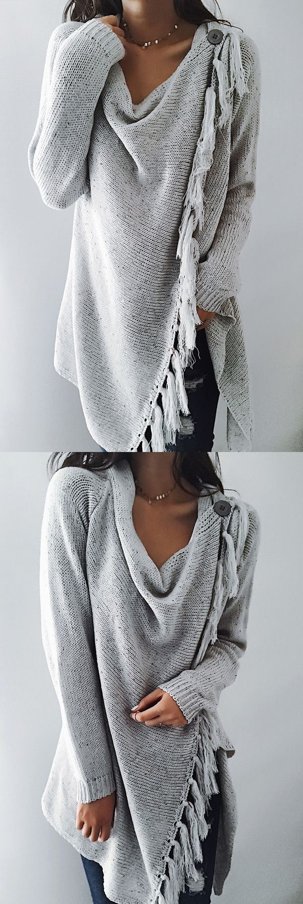 $47.99! Chicnico 2017 Grey Tassel Asymmetrical Hem Shawl Speckled Fringe Cardigan ready for Fall fashion! Find fashionable outfits for the new