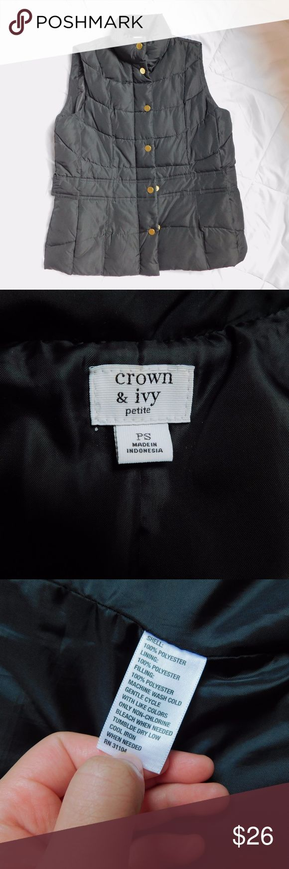 Crown and Ivy Black Quilted Vest Comfortable and warm fall vest! Black with gold hardware, not too bulky, and goes with a lot of outfits! Similar to J.Crew vests. Originally from Belk's crown and ivy Jackets & Coats Vests