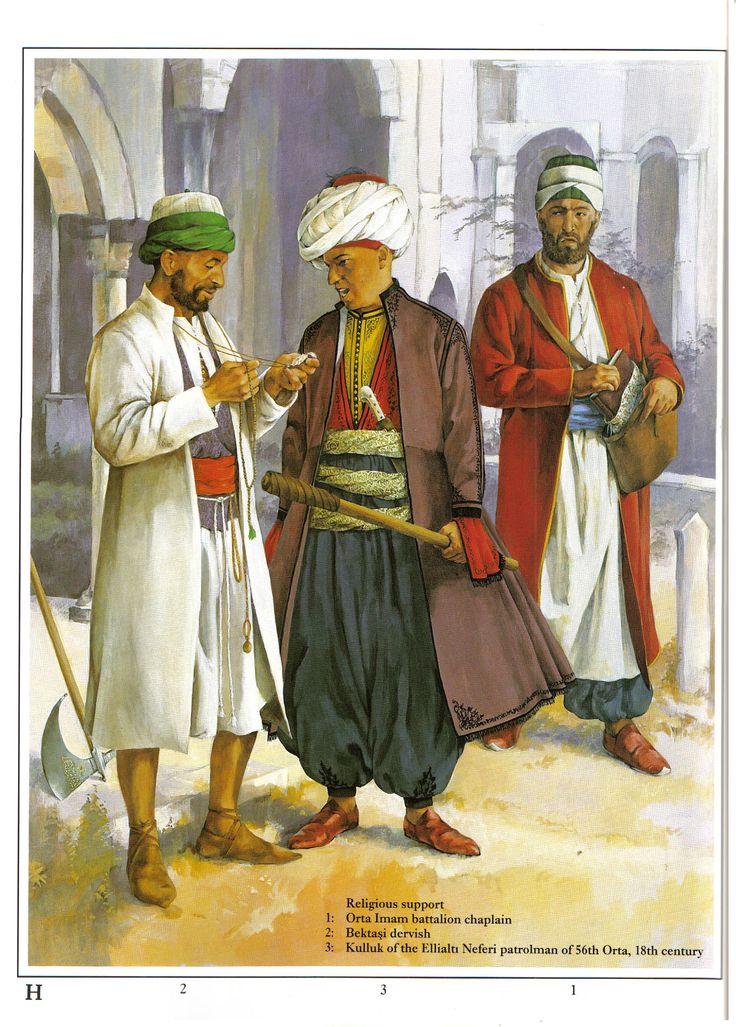 Janissaries - religious support:  1: Orta Imam battalion chaplain;  2: Bektaşi dervish;  3: Kulluk of the Ellialtı Neferi patrolman of 56th Orta, XVIII c.