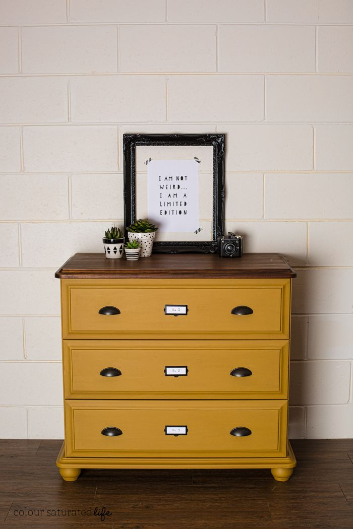 This Beautiful Mustard Dresser From Colour Saturated Life Features Our Cup  Pulls And Antique Brass Label