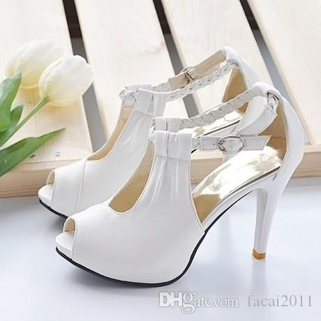 2017 New Wedding Shoes With Braided Strap High Heel Bridal Shoes Platform Sandals White Beige Black Bridesmaid Party Shoes Buy Shoes Online Wedge Boots From Facai2011, $32.25| Dhgate.Com