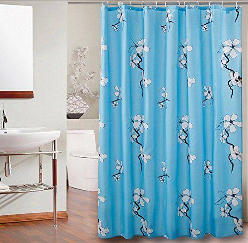 Elegant Plum Flower Pattern Polyester Fabric Shower