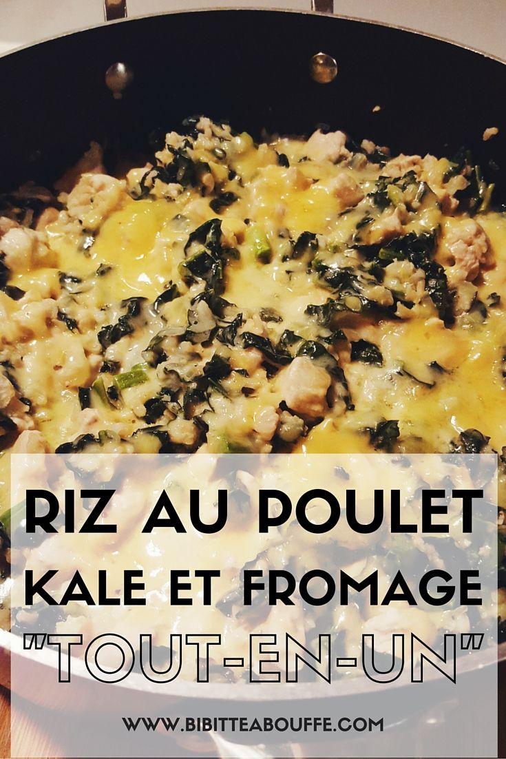 Riz au poulet, kale et fromage (dans un seul plat)   www.bibitteabouffe.com