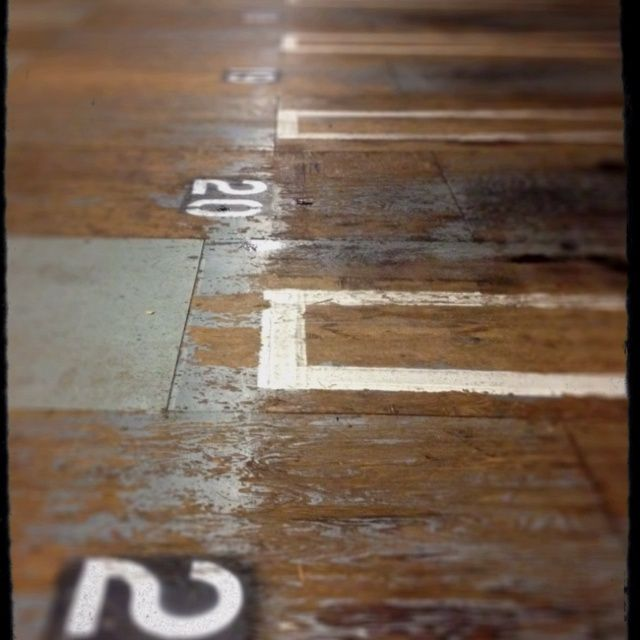 pinterest painted floors   Plywood floor, painted and naturally distressed in parking ...   Floo ...