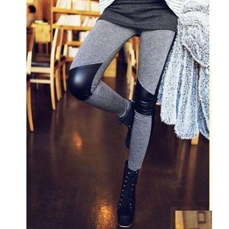 Fashion Elastic Pencil Pants Skinny Pants Stitching Leather Leggings Women's Leggins