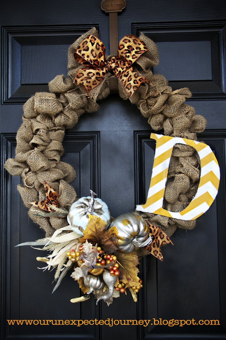 burlap wreath. Pumpkins are a little gaudy, but I like the chevron painted letter...
