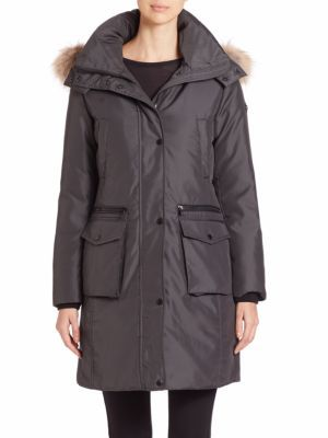 ANDREW MARC Jamie Coyote Fur-Trimmed Parka. #andrewmarc #cloth #parka